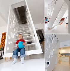 Swiss Cheesed: Playfully Suspended & Perforated Staircase