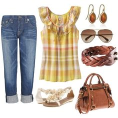 love the brown and yellow...dont really like the belt or purse tho.