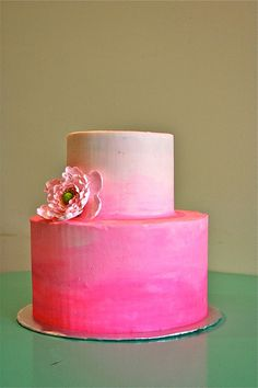 Hot Pink Ombre Cake <3 <3 <3