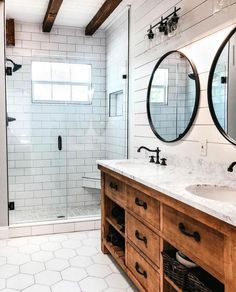 Farmhouse bathroom storage ideas, excellent country farmhouse bathroom design that can be used to create my farmhouse bathroom shelf. CHECK THIS Most Popular Farmhouse Bathroom Ideas [And The Reason Why It Looks Amazing] for more detail Master Bath Remodel, Diy Bathroom Remodel, Bathroom Renos, Small Bathroom, Bathroom Renovations, Dream Bathrooms, Basement Bathroom, Shiplap Master Bathroom, Farm House Bathroom