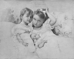 Grand Duchesses Tatiana, Olga and baby Marie. I always found this story sad and interesting.