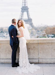 Photography : Le Secret DAudrey | Wedding Dress : Lazaro Read More on SMP: http://www.stylemepretty.com/little-black-book-blog/2015/03/11/elegant-winter-paris-elopement/