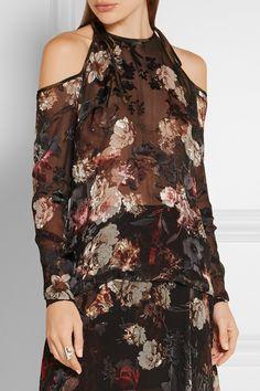 Multicolored devoré silk-blend chiffon Ties at shoulders 56% silk, 44% viscose; trim: 100% silk Dry clean