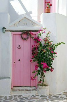 Maybe baby pink for my front door. With a Tiffany blue porch?