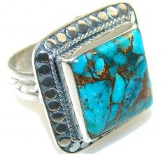 Turquoise Soul  . . .   Amazing Blue Copper Turquoise Sterling Silver Ring
