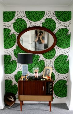 marimekko wallpaper could be a really fun something-thing to include on back wall of the power room with other walls painted to coordinate Marimekko Wallpaper, Wall Wallpaper, Marimekko Fabric, Interior Architecture, Interior And Exterior, Interior Styling, Interior Design, Vintage Interiors, Beautiful Wall