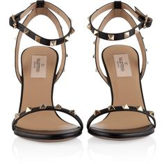Valentino Rockstud Sandal (€151) ❤ liked on Polyvore featuring shoes, sandals, cocktail shoes, evening shoes, holiday shoes, special occasion shoes and special occasion sandals