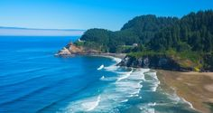 North Bend Lighthouse, Oregon - hills, house, lighthouse, waves, sand, sea, beautiful, rocks, beach, forest