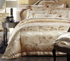 Made with a blend of luxury silk and cotton materials to complement an elegant, majestic bedroom theme. Unlike other types of bedding material, Jacquard fabric is made with a raised design or pattern that is woven directly into the fabric instead of being printed or embroidered on top.   This bedding set includes 1 duvet cover (without comforter filler), 1 bed sheet (flat sheet) and 2 pillowcases (without pillow filler)  Material: 100% cotton, silk  Technique: Jacquard    Buy with…