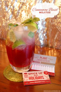 Cinnamon Basil Mojito Recipe from the #12WeeksofChristmas - and a link to purchase cool matchstick seed packets