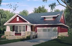 Craftsman Cottage With Sturdy Front Porch - 95019RW | Bungalow, Cottage, Country, Craftsman, Northwest, Narrow Lot, 1st Floor Master Suite, CAD Available, Den-Office-Library-Study, PDF | Architectural Designs