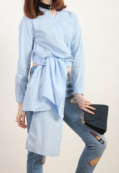 BABY BLUE KNOT FRONT SHIRT-DRIVE STORE