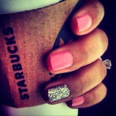 Starbucks,nails,glitter,ring!