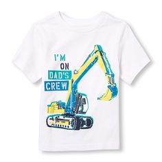 Toddler Boys Short Sleeve 'I'm On Dad's Crew' And Crane Graphic Tee