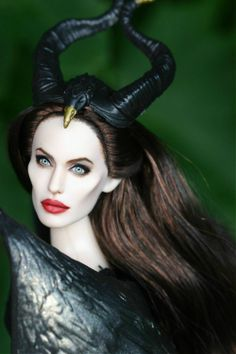 """OOAK Angelina Jolie Repaint Doll as Disney's """"Maleficent"""" 