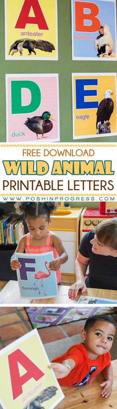 My kids are starting to learn their letters and they also love the zoo, so we made them these wild animal printable letters for their playroom. Download and print them for your kids too! #BacktoSchool #CreateWithHP #ad