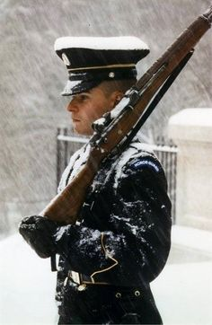 The Tomb of the Unknown Soldier is guarded 24 hours a day, 365 days a year, in any weather by Tomb Guard sentinels.  Sentinels, all volunteers, are considered to be the best of the elite 3rd U.S. Infantry Regiment (The Old Guard), and headquartered at Fort Myer, Virginia.