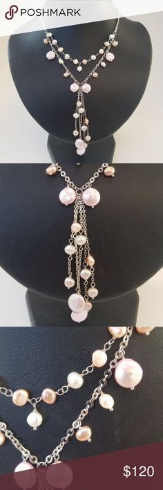 """Elegant freshwater multi-color pearl necklace💖 Elegant freshwater pearl necklace. Length is adjustable from 13"""" - 15"""" pearl colors are natural pink, peach, and white on sterling silver chain. Beautiful addition to your outfit and will be the talk of the party! 🎉🎉 Jewelry Necklaces"""