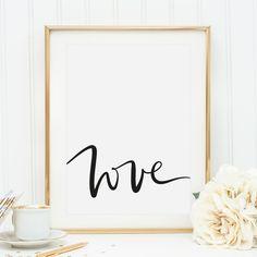 "Romantisches Spruch Poster mit Schriftzug ""love"" in Schwarzer Schreibschrift / romantic art print with handlettering made by Tales by Jen via DaWanda.com"