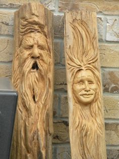 some of award winning artist, Steve Kenzoras carvings. He calls these wood spirits and they are carved from cedar rails. Steve is a renowned carver who is invited to many world renowned Carving events. His work is available at our store. Wood Carving Faces, Wood Carving Art, Wood Carvings, Wooden Walking Canes, Tree People, Whittling, Woodworking Crafts, Wood Crafts, Wood Projects
