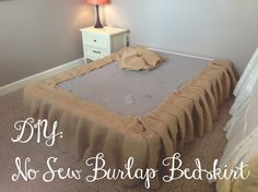 You Got Personal: No Sew Burlap Bedskirt Tutorial need for our guest bedroom