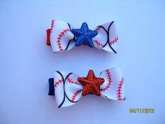 Baseball hair bows!:) by RobinLynnF on etsy!