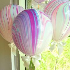 Unicorn Party Supplies. Unicorn Balloons. Ships in 1-3 Business Days. Marble Balloons with White Bows + Curling Ribbon. 8CT.