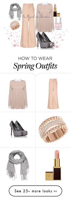 """Pink and Grey Hijab Outfit"" by le-hijab-de-doudou on Polyvore featuring Yves Saint Laurent, Tom Ford, Swarovski, Nails Inc. and maurices"