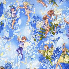 Michael Miller - Flower Fairies Dawn Fairies Sky - cotton fabric