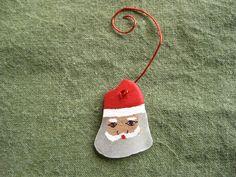 Sea Glass Santa ornament hand painted Genuine by ElfSeaGlass