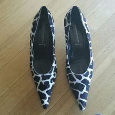 Shoes Dark brown and white pony hair shoes. Worn 2 times. Brand name Guglielmo Rotta made in Italy Shoes Heels