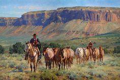 """Red Rock Remuda"" by Jason Rich (Cowboy Artist) 40"" x 60"""