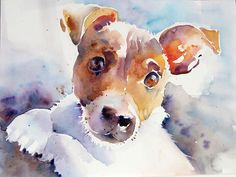 Spanky by Yvonne Joyner Watercolor ~ 14 in. including mat x 16 in including mat