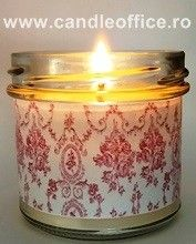 """100% natural candle, made entirely from soy wax, without any synthetic product. The color is natural (white-milk). The fragrance is given by 100% natural essential oils (we invite you in the """"Natural flavors available"""" section for choosing the essence). The wick is exclusively cotton-untreated. The flame burns constantly, without smoke, does not darken the walls. The container is made of glass (recyclable material) and is decorated, hand-made. Price: 4,38 Eur SHIPPING COST IS NOT INCLUDED."""