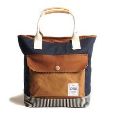 Navy & Brown Tote Bag.