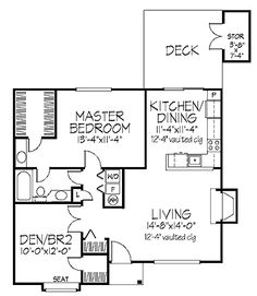 Home Plans   890 Square Feet, 1 Bedroom 1 Bathroom Cottage Home Make Living  Room Even With Bedroom, Master Bedroom Closet Smaller, No Extra Sink, ...