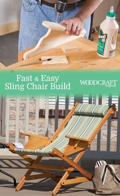 FastandEasy Sling Chair Enjoy nature's bounty in a comfy outdoor chair that loves you back with its comfortable, polyester sling and cushioned headrest Made from cypress, the assembly weighs a modest 10 pounds, making it ideal for folding and toti - t Furniture Projects, Wood Projects, Diy Furniture, Woodworking Techniques, Woodworking Projects, Chaise Diy, Wood Plans, Diy Chair, Teds Woodworking