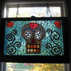 DIA DE LOS MUERTOS/DAY OF THE DEAD~Recycled window sugar skull mosaics.