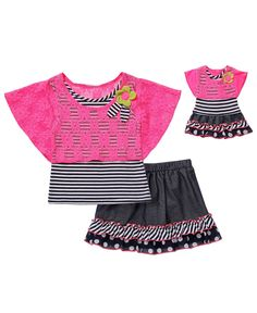 Dollie & Me Kids Set, Girls and Little Girls Shirt, Skirt and Matching Doll Outfit Set - Kids - Macys