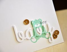 Love the die cut script stamped! CAS card by Maile Belles at Simply Stamped