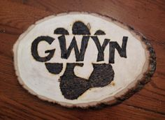 Custom Wood Burned Name on Wood Plaque with Logo by ScratchTastic3 on Etsy