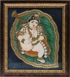 Aalilai Krishna See more paintings at https://www.madhurya.com/tanjore-paintings/krishna/little-krishna-tanjore-painting.html #tanjoreart