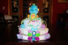 Seahorse Diaper Cake - use blue and coral colors