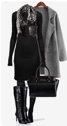 Classy Fall Outfit in Black and Grey Outfit by uniqueimage RICK OWENS Rayon Silk Dress Black double-layered silk-blend dress with long gathered sleeves. Ribbed yoke and Mode Chic, Mode Style, Mode Outfits, Fashion Outfits, Fashion Trends, Fashion 2017, 2000s Fashion, Fashion Tips, Fashion Pants