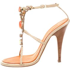 Pre-owned Giuseppe Zanotti Embellished Metallic Sandals ($95) ❤ liked on Polyvore featuring shoes, sandals, gold, giuseppe zanotti shoes, multi colored sandals, gold jeweled sandals, metallic gold shoes and colorful sandals