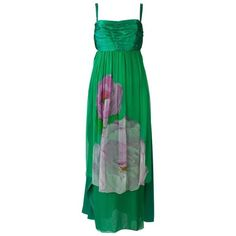 Preowned Green Silk Empire Waist Dress With Foral Pattern ($495) ❤ liked on Polyvore featuring dresses, casual dresses, green, green vintage dress, vintage print dress, green empire waist dress, pleated dress and silk dress