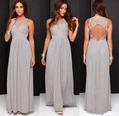 Chiffon Lace Bridesmaid Dress,Sleeveless Bridesmaid Dress,Sexy Back Hole Bridesmaid Dress