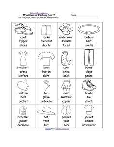 vocabulary matching worksheet elementary 2 7 clothes english englisch f r kinder. Black Bedroom Furniture Sets. Home Design Ideas