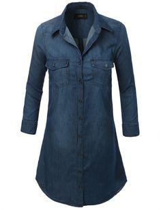 LE3NO Womens Cuffed 3/4 Sleeve Chambray Denim Shirt Dress