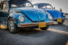 Cuban Cars Fine Art Photography Cuban Photography Office Decor Photo Volkswagen Cuba Plates Old Cars Blue Cars Havana Father's Day VW Beetle